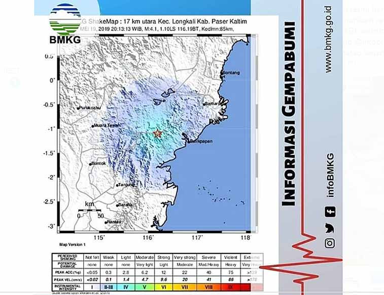 Astaga, Gempa Bumi Tektonik M 4.1 SR Guncang Paser Kaltim